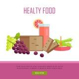 Illustration saine de bannière de Web de concept de nourriture Photographie stock libre de droits
