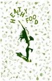Illustration saine de vecteur de nourriture avec des icônes des produits et de la jeune femme dans un saut Images stock