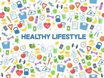 Illustration saine de vecteur de mode de vie Forme physique, nutrition et santé Images libres de droits