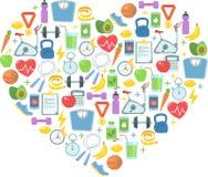 Illustration saine de vecteur de mode de vie Forme physique, nutrition et santé Photo stock