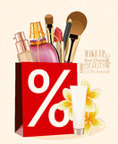 Illustration sale banner of make up and cosmetics. Make Up kit Royalty Free Stock Images