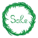 Illustration sale inside a green wreath. Illustration sale and a wreath of green fir branches Royalty Free Stock Photography