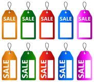Sale tag icon design set. Illustration of sale tag icon design set on white background Stock Photos