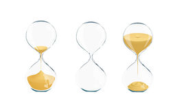 Illustration with sand glasses. Three types of transparent glass clocks: containing sand or empty one Stock Photos
