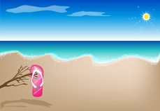 An Illustration of A Sandal on The Beach Stock Photo