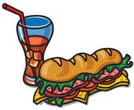 Sandwich with cola. Illustration of sandwich with cola drink glass royalty free illustration