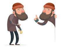 Illustration sans abri masculine pauvre de vecteur de calibre de conception de Bum Character Isolated Icon Cartoon illustration libre de droits