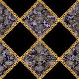 Illustration sans couture à chaînes d'or de modèle de peau de serpent de charme Texture d'aquarelle avec les chaînes d'or illustration stock