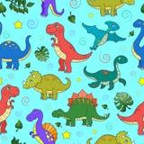 Illustration sans couture avec les dinosaures et les feuilles colorés, animaux sur le fond bleu illustration de vecteur