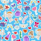 Illustration sans couture avec les labels tirés par la main simples d'icônes sur le thème du jour du ` s de Valentine sur un supp Photo stock