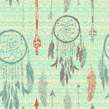 Illustration sans couture avec les receveurs rêveurs sur le fond sans couture tribal Illustration tirée par la main Fond de cru Photos libres de droits