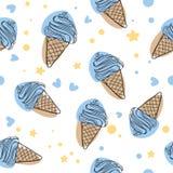 Illustration sans couture bleue mignonne de fond de modèle de vecteur de crème glacée de bande dessinée illustration de vecteur