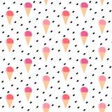 Illustration sans couture colorée mignonne de fond de modèle de vecteur de crème glacée de cône illustration de vecteur