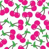 Illustration sans couture de bande dessinée de modèle de fruit de cerises appropriée à la conception de fond de tissu d'enfant illustration de vecteur