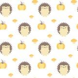 Illustration sans couture de fond de modèle de vecteur d'automne mignon de chute avec des hérissons, des potirons et des champign Photographie stock