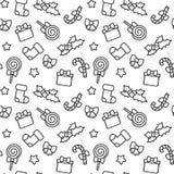 Illustration sans couture de fond de modèle de vecteur de bande dessinée d'éléments noirs et blancs mignons de Noël illustration stock