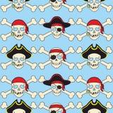 Illustration sans couture de fond de vecteur le modèle pirate des accessoires et des attributs de crâne illustration stock