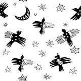 Illustration sans couture de modèle d'oiseaux fantastiques Images libres de droits