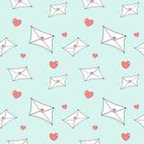 Illustration sans couture de modèle de bande dessinée d'amour de lettre mignonne de courrier Photos libres de droits