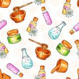 Illustration sans couture de modèle de cosmétiques de station thermale Éléments tirés par la main de beauté et d'aromatherapy Cro Photo stock