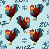 Illustration sans couture de modèle pour le coq de coq de rouge de la bonne année 2017 Photo stock
