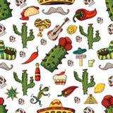Illustration sans couture de modèle sur l'ele d'isolement de Mexicain de fond illustration de vecteur