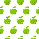 Illustration sans couture de modèle de vecteur avec les pommes mignonnes de kawaii sur le fond blanc Type de dessin anim? illustration de vecteur