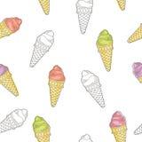 Illustration sans couture de modèle de croquis graphique de crème glacée  Image stock