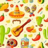 Illustration sans couture de vecteur de modèle d'icônes du Mexique illustration libre de droits