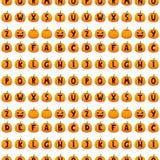 Illustration sans couture de vecteur de fond de modèle des textes d'alphabet de police de potiron de Halloween illustration libre de droits