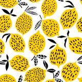 Illustration sans couture de vecteur de modèle de citron Conception d'été illustration stock