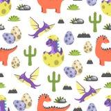 Illustration sans couture de vecteur de modèle de dinosaure Images libres de droits