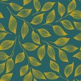 Illustration sans couture de vecteur de modèle de feuilles de thé d'emballage Le buisson mignon d'usine de thé laisse l'ornement  illustration libre de droits
