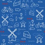 Illustration sans couture de voyage de modèle de la Hollande de vecteur avec les points de repère néerlandais Photographie stock