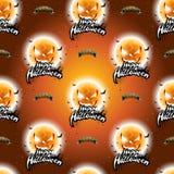Illustration sans couture heureuse de modèle de Halloween avec les visages effrayants de lune sur le fond orange-foncé Photos stock