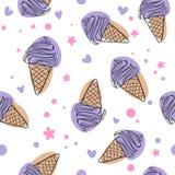 Illustration sans couture mignonne de fond de modèle de vecteur de crème glacée de bande dessinée de purpure illustration stock
