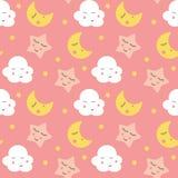 Illustration sans couture mignonne de vecteur de fond de modèle de nuages, d'étoile et de lunes Photographie stock libre de droits