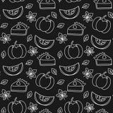 Illustration sans couture noire et blanche de fond de modèle de vecteur de tranche de tarte de potiron illustration de vecteur