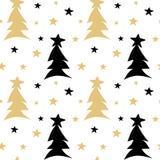 Illustration sans couture noire tirée par la main de fond de modèle de vecteur d'or blanc avec les arbres et les étoiles de Noël  Image stock