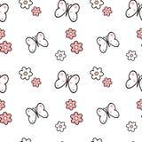 Illustration sans couture rose blanche noire de fond de modèle de fleurs et de papillons de marguerite Images stock