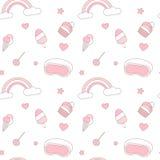 Illustration sans couture rose et blanche mignonne de fond de modèle de vecteur avec l'arc-en-ciel, crème glacée, étoiles, coeurs illustration de vecteur
