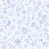 Illustration sans couture sur le thème d'une leçon de géographie à l'école, icônes bleues de découpe illustration stock