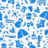 Illustration sans couture sur le thème de la récréation dans le pays du Mexique, silhouettes bleues des icônes sur le fond de la  Illustration de Vecteur