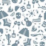 Illustration sans couture sur le thème de la récréation dans le pays du Mexique, silhouettes grises des icônes sur le fond blanc Illustration Stock