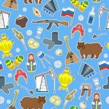 Illustration sans couture sur le thème du voyage dans le pays de la Russie, icônes colorées de correction de bande dessinée sur l illustration libre de droits