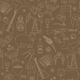 Illustration sans couture sur le thème du voyage dans le pays de la Russie, un contour simple des icônes de bande dessinée avec u illustration stock