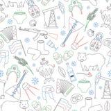 Illustration sans couture sur le thème du voyage dans le pays de la Russie, un contour simple des icônes de bande dessinée avec u illustration de vecteur
