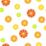 Illustration sans couture verte rouge de fond de modèle de fruit de citron de chaux de jaune orange abstrait de pamplemousse Photographie stock libre de droits