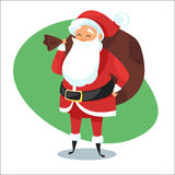 Illustration of Santa with bag of gifts. Stock Photos