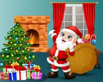 Santa bringing a sack of candy in the living room with christmas and new year decoration. Illustration of Santa bringing a sack of candy in the living room with Stock Photos